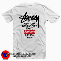 Stussy X Supreme World Tour Collab Tee Shirt White