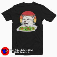 Confused Cat at Dinner Table Funny T Shirt