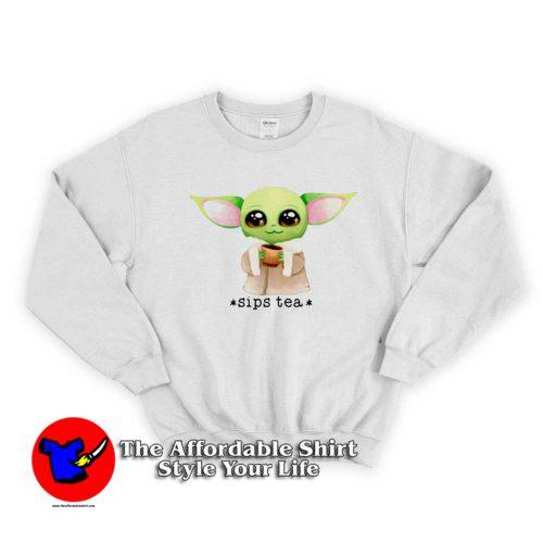 Funny baby Yoda 500x500 Funny baby Yoda Sips Tea Sweatshirt