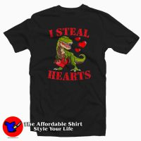 I Steal Hearts T Rex Valentines Day T-Shirt