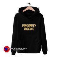 Virginity Rocks Black Graphic Hoodie