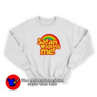 Funny Satan Loves Me Rainbow Unisex Sweatshirt